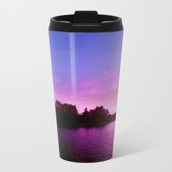 Northern Lights at Sunset Metal Travel Mug