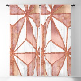 Rose Gold Marble Geometric Abstract Blackout Curtain