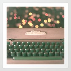 Typewriter with magic bokeh (Vintage and Retro Still Life Photography)  Art Print