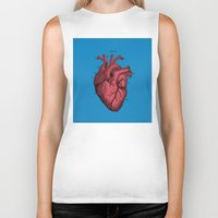anatomical heart Biker Tanks featuring Vintage Anatomical Heart Illustration by Digital Crafts