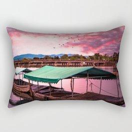Sunset Boat Water (Color) Rectangular Pillow