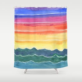 Mountains of Waves Watercolor Painting Shower Curtain