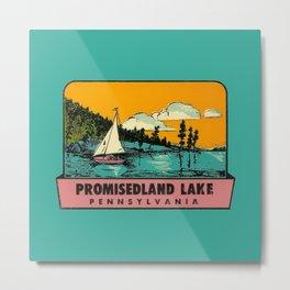 Vintage Retro Camping Promisedland Wanderlust Metal Print