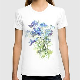 Forget-me-not watercolor aquarelle flowers T-shirt