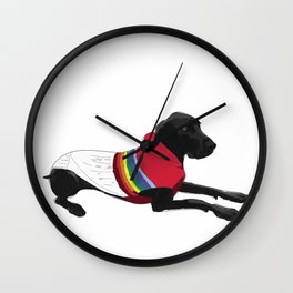 Black Great Dane with a sweater Wall Clock