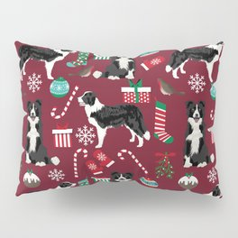 Border Collie christmas stockings presents holiday candy canes dog breed pattern Pillow Sham