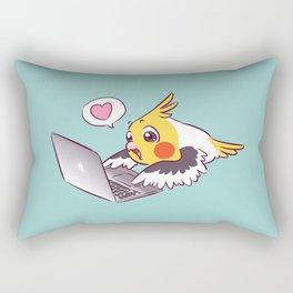 Nerdy cockatiel cute drawing Macbook bird parrot Rectangular Pillow