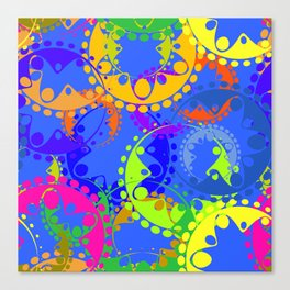 Texture of bright colorful gears and laurel wreaths in kaleidoscope style on a blue background. Canvas Print