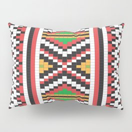 Slavic cross stitch pattern with red green orange black white Pillow Sham