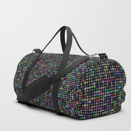 Cyber atomic flowers on black background Duffle Bag