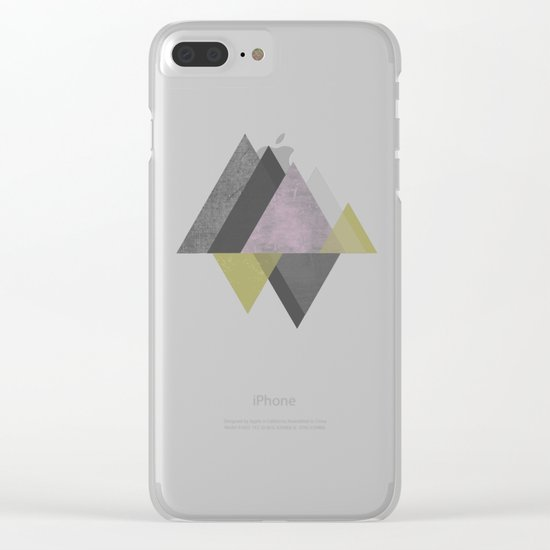 To the Mountains I Must Go, Abstract Geometric Art Clear iPhone Case