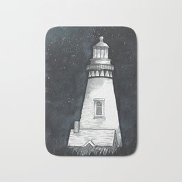 Starry sky and lighthouse // Lighthouse at night //starry night // watercolor stars Bath Mat