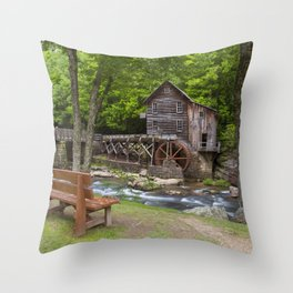 Glade Creek Grist Mill In Summer Throw Pillow