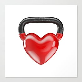 Kettlebell heart vinyl / 3D render of heavy heart shaped kettlebell Canvas Print