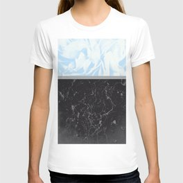 Light Blue Flower Meets Gray Black Marble #3 #decor #art #society6 T-shirt