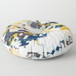 Sloane - Abstract painting in modern fresh colors navy, mint, blush, cream, white, and gold Floor Pillow