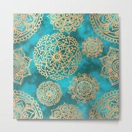 Light Blue and Gold Mandala Pattern Metal Print