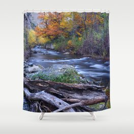 Mountain river. After raining. Night photography. Shower Curtain