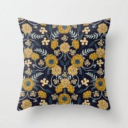 Navy Blue, Turquoise, Cream & Mustard Yellow Dark Floral Pattern Throw Pillow