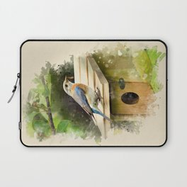 Watercolor Bluebird Art Laptop Sleeve