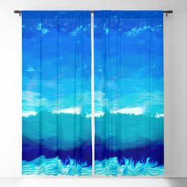 blue sky artwork drawing painting Blackout Curtain