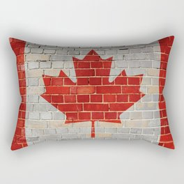Canada flag on a brick wall Rectangular Pillow