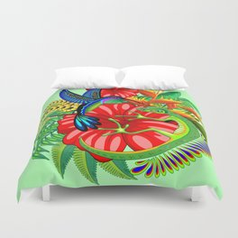 The Lizard, The Hummingbird and The Hibiscus Duvet Cover