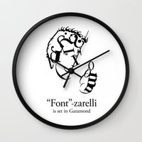 font Wall Clocks featuring 'Font'-zarelli by Christian Bailey