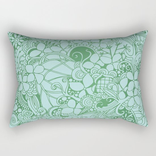 Blue square, green floral doodle, zentangle inspired art pattern Rectangular Pillow
