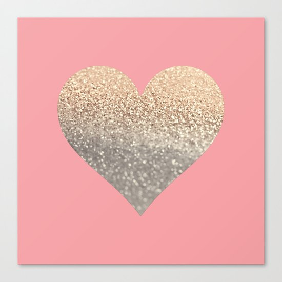 GOLD HEART CORAL Canvas Print