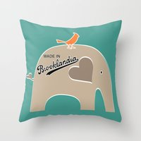 portlandia Throw Pillows featuring Made in Brooklandia by Elephant Love