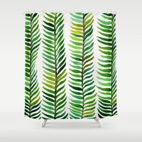 metallic Shower Curtains featuring Seaweed by Cat Coquillette