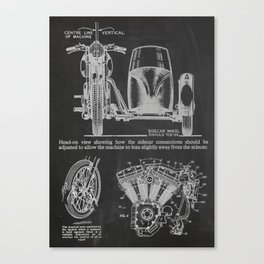 Motorcycle with Sidecar Canvas Print