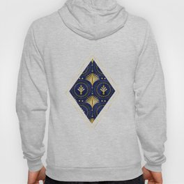 Art Deco Blue And Gold Luxury Hoody