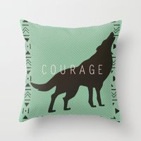 courage Throw Pillows featuring Courage by Laura Santeler