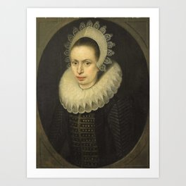 Jacob Lambrechtsz Loncke - Portrait of Antoinette Walleran, Wife of Philippe Le Mire Art Print