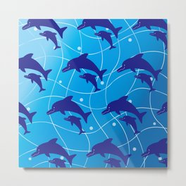 Parent-child of dolphin on the Wave_F Metal Print