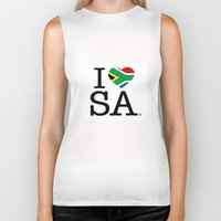 south africa Biker Tanks featuring I LOVE SOUTH AFRICA by ROGUE AFRICA
