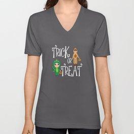 Trick or treat Kids funny Halloween Costume Unisex V-Neck
