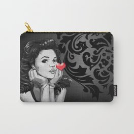 Retro Pinup Girl Blowing a Heart Kiss Carry-All Pouch