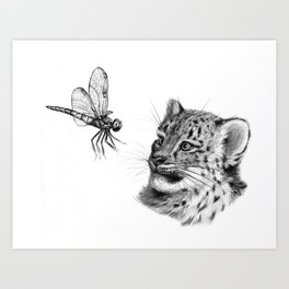 Snow leopard cub and dragonfy G148 Art Print