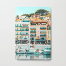 Cannes Downtown City Print, Cannes Skyline, Old Town French Riviera, Yachts And Boats, City Marina Port In France Metal Print