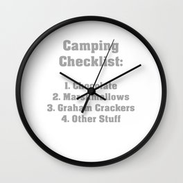 Camping Checklist Wall Clock