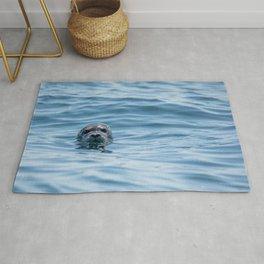Black Seal Bobbing In Calm Blue Ocean Rug