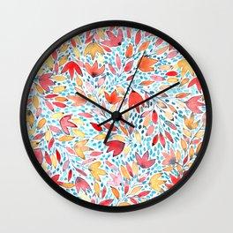 Indian summer leaves - handpainted watercolor pattern Wall Clock