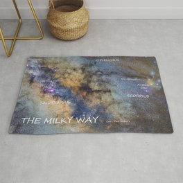 Star map version: The Milky Way and constellations Scorpius, Sagittarius and the star Antares. Rug