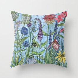 Watercolor Garden Flower Botanical Wildflowers Lady Slipper Orchid Throw Pillow