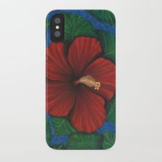 Tropical Hibiscus in Red island art painting iPhone X Slim Case