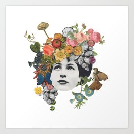 Head in the Flowers Art Print