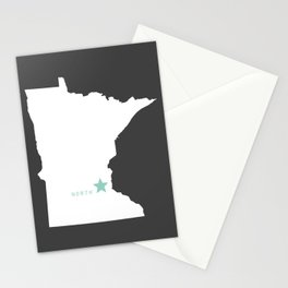Minnesota North in Charcoal Stationery Cards